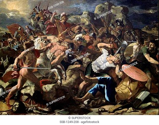 Victory Of Joshua Over The Amorites 1625-26 Nicolas Poussin 1594-1665 French Oil On Canvas Pushkin Museum of Fine Arts, Moscow, Russia