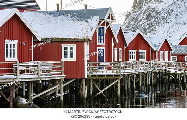 Rorbu, traditial fishing huts, now used as hotel, in the village Reine on the island Moskenesoya. The Lofoten Islands in northern Norway during winter
