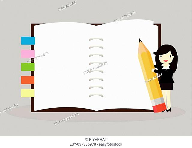 Business woman holding an empty notebook for use in presentations