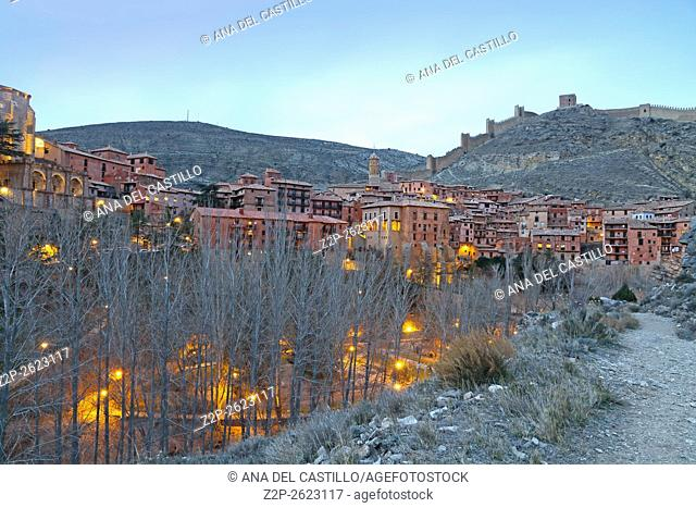 Albarracin medieval terracotte village in Teruel, Aragon, Spain. One of the Spain's most beautiful villages. Evening time