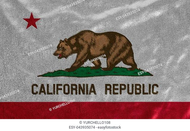 Flag of California State United States of America on fabric background close up