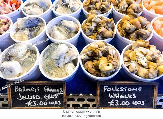 England, London, Southwark, London Bridge City, Borough Market, Seafood Stall Display of Whelks and Jellied Eels