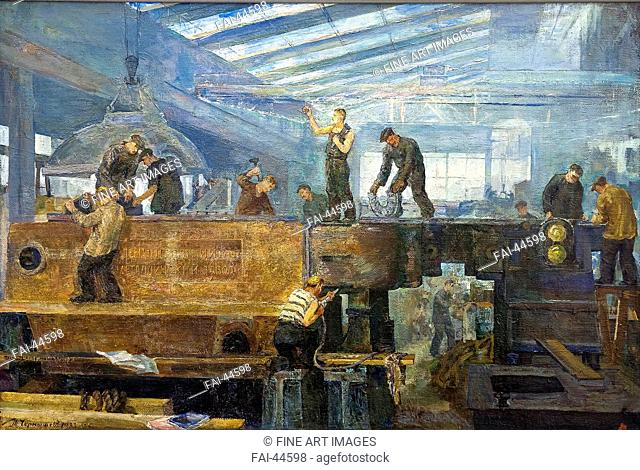 Turbine installation by Chernyshev, Tikhon Pavlovich (1882-1942)/Oil on canvas/Soviet Art/1935-1936/Russia/State Museum- and exhibition Centre ROSIZO
