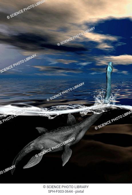 Loch Ness monster, computer artwork