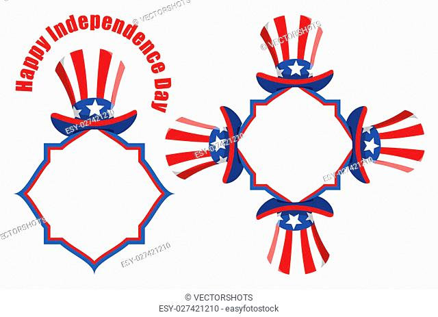 Drawing Art of Uncle Sam Hat - Patriotic USA theme Vector Set