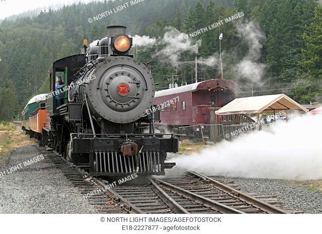 USA, Oregon, Elbe. Mount Rainier Scenic Railroad. Steam engine venting steam to release pressure in the boiler
