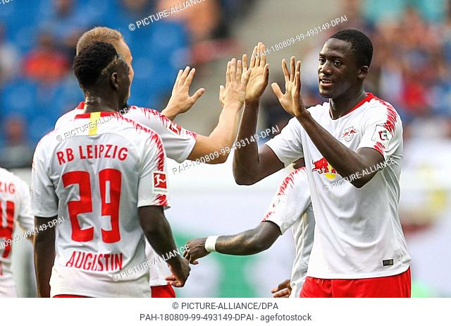 09 August 2018, Germany, Leipzig: Soccer, Europa League qualifications, 3rd round, first leg, RB Leipzig vs CS Universitatea Craiova in the Red Bull Arena
