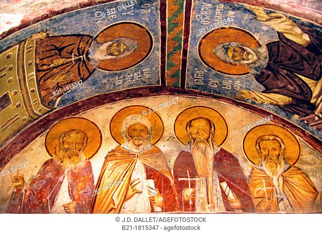 Ceiling paintings: -left to right on the bottom- St Sabbas, St  Anthony, St Euthemios and St Theodasios, Hagia Sophia (Church of Saint Sophia), Trabzon, Turkey