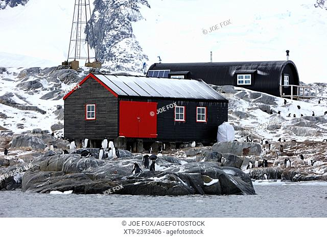 port lockroy station buildings including boatshed and nissen hut accommodation on goudier island Antarctica