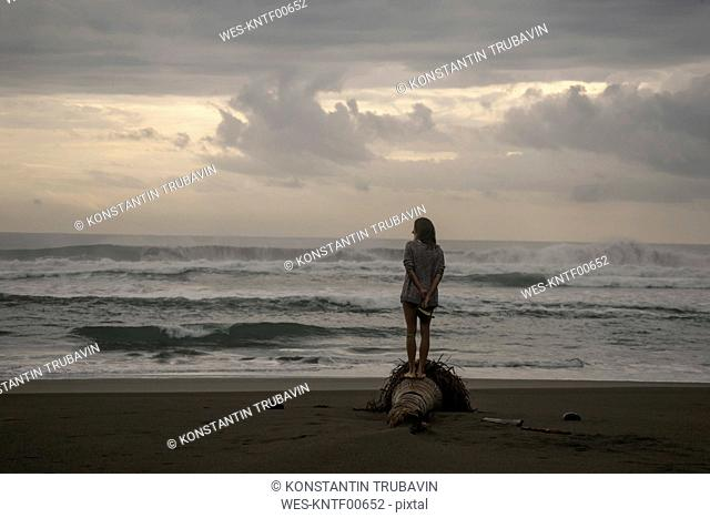 Indonesia, Java, back view of woman standing on the beach at evening twilight