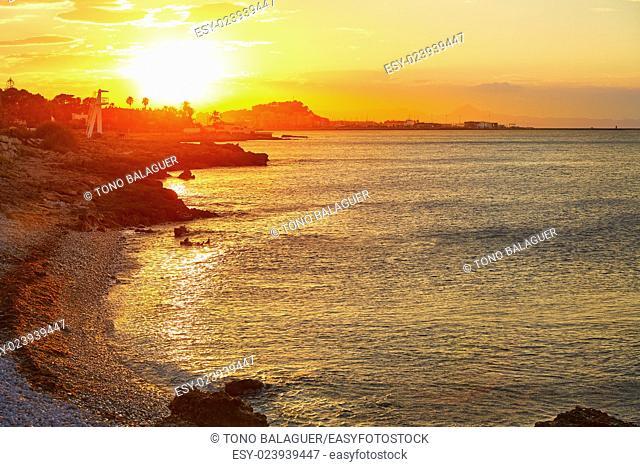 Denia sunset las Rotas in Mediterranean Spain of Alicante