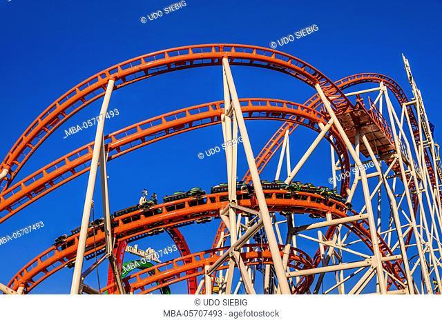 Germany, Bavaria, Upper Bavaria, Munich, Theresienwiese, Oktoberfest, roller coaster