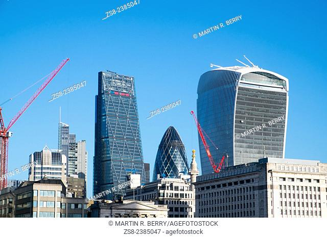 Skyline and office buildings in the city of London, England