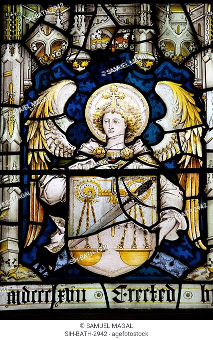 England, Somerset, Bath, Bath Abbey, Stained Glass Window, Angel with a Shield