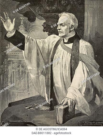 The canon Liddon preaching in St Paul's Cathedral, London, United Kingdom, engraving from The Illustrated London News, volume 97, No 2683, September 20, 1890