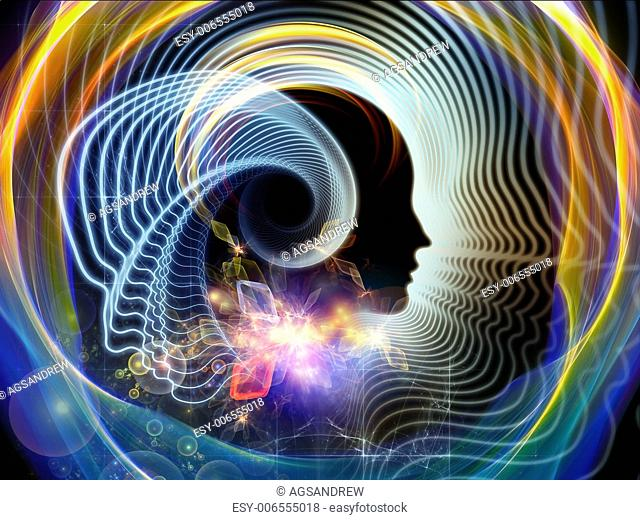 Creative arrangement of human feature lines and symbolic elements as a concept metaphor on subject of human mind, consciousness, imagination