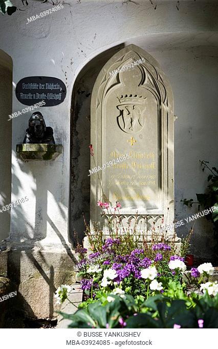 Germany, Baden-Württemberg, Lake Constance-region, sea-castle, cemetery, gravesites 'Annette von Droste-Hülshoff'