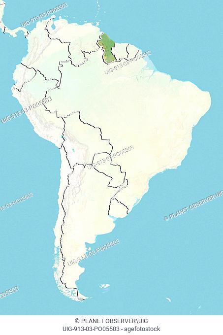 Guyana, Relief Map