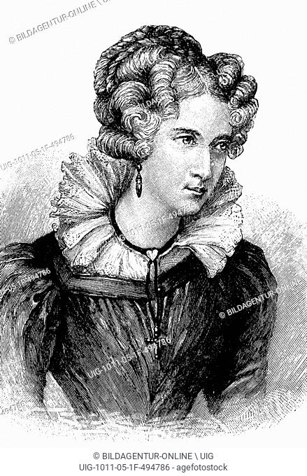 Annette von droste-huelshoff, 1797 - 1848, aged 32, a german writer, historic wood engraving, about 1897