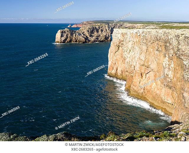 The clliffs of the Costa Vicentina at Cabo de Sao Vicente. The coast of the Algarve during spring. Europe, Southern Europe, Portugal, March