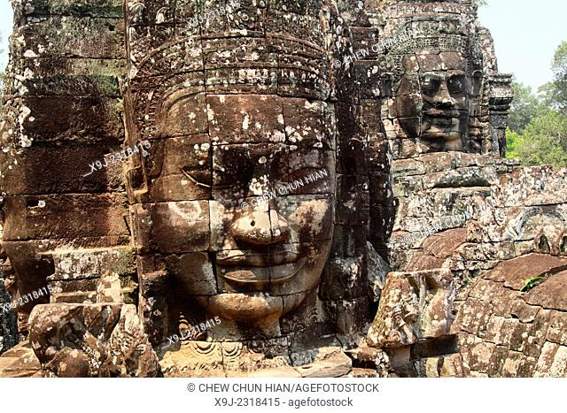 Buddha stone faces of Bayon Temple towers, Angkor Thom, Cambodia