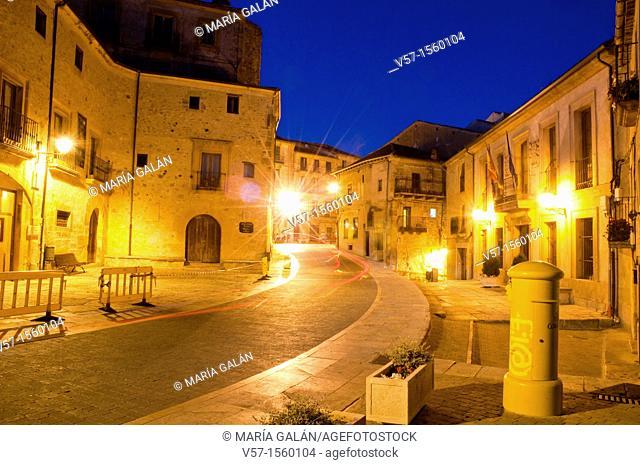 Street at night. Sepulveda, Segovia province, Castilla Leon, Spain