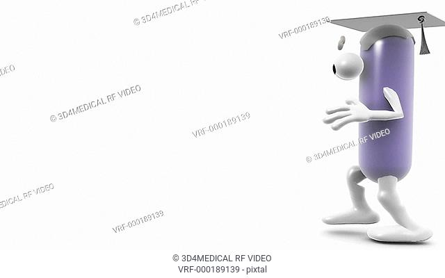 Animation of a digital tutor in the shape of a generic pill