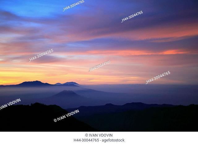 Sunset view from Penanjakan mountain (2770 m), Bromo Tengger Semeru National Park, Java, Indonesia
