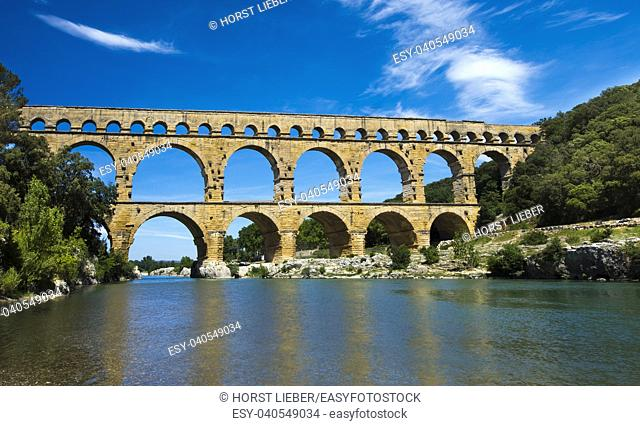 Ancient Roman Aqueduct - Pont du Gard, near Nimes, Languedoc France, Europe