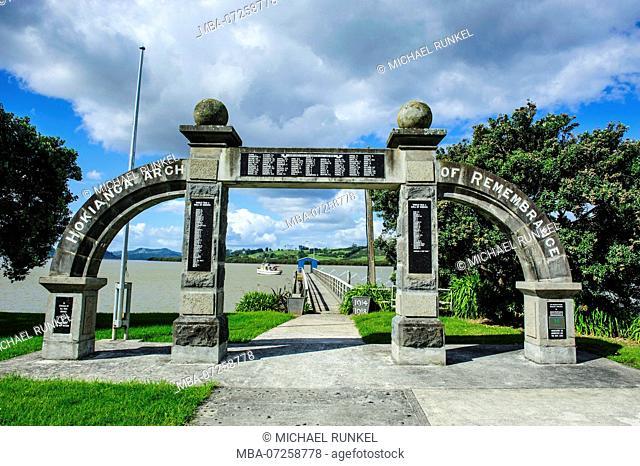 Hokianga arch before the pier in Kohukohu, Hokianga harbour, Westcoast Northland, North Island, New Zealand