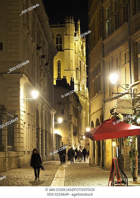 Rue Saint-Jean at night, Lyon, Auvergne-Rhone-Alps, France