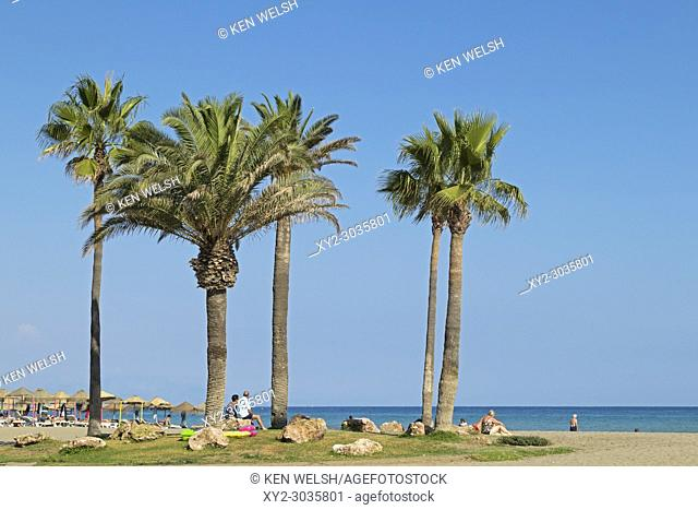 Torremolinos, Costa del Sol, Malaga Province, Andalusia, southern Spain. Playamar beach