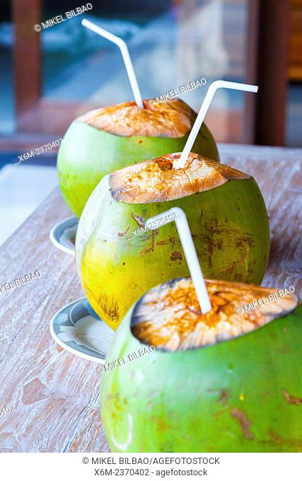 Coconuts on a table. Ubud. Bali. Indonesia, Asia