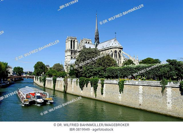 Excursion boat on the Seine, eastern side of Notre-Dame de Paris or Notre-Dame Cathedral, Seine, Ile de la Cité, 4th Arrondissement, Paris, France