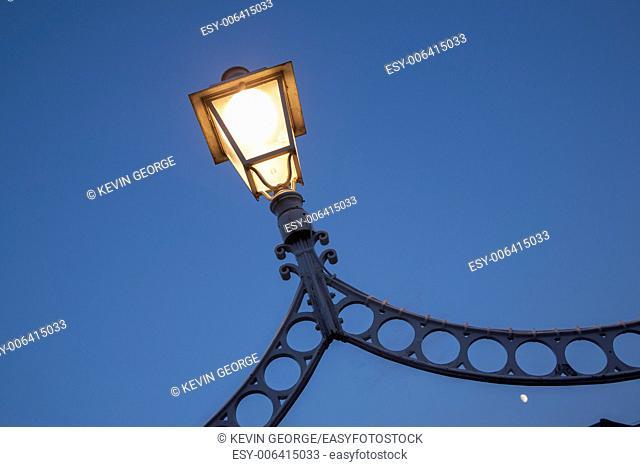 Illuminated Lamp on Ha'Penny Bridge, Dublin, Ireland