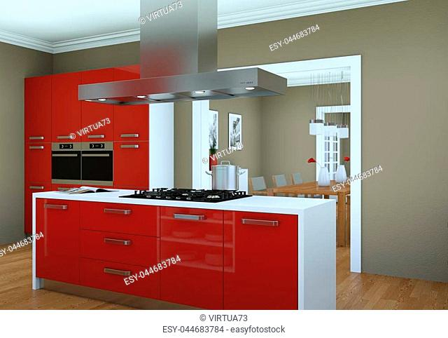 3d Illustration of red modern kitchen in a flat with beautiful design