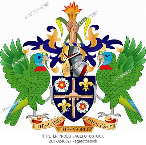 Coat of arms of the Caribbean island state Saint Lucia