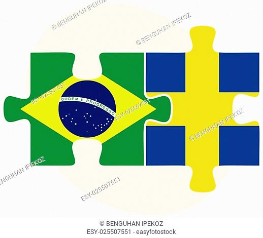 Brazil and Sweden Flags in puzzle isolated on white background
