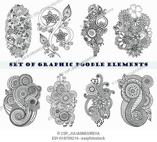 Set of Henna Paisley Mehndi Doodle Element