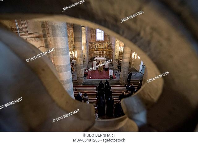 Switzerland, Canton of Grisons, Müstair, Benedictine abbey St. Johann in the Münstertal, inauguration of the prioress sister Domenica