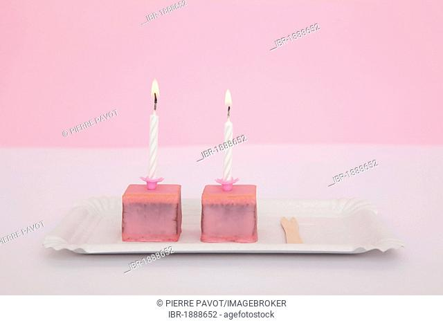 Pink chocolates, birthday candles