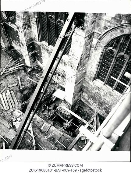 Jan. 01, 1968 - Restoration work on Chichester Cathedral may have to stop.: Extensive work is being carried out to strengthen the foundations and walls of...