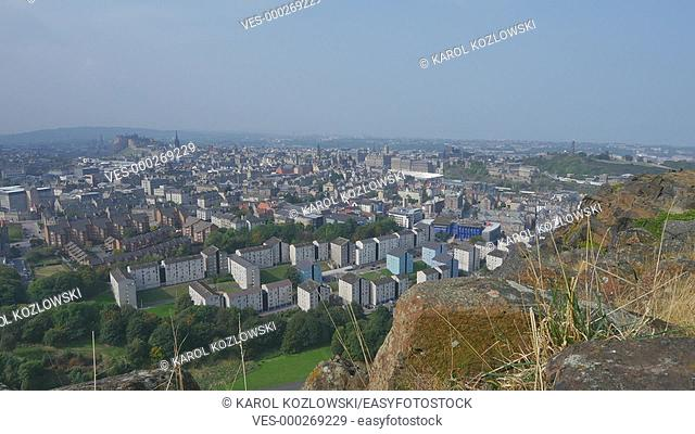 Cityscape of Edinburgh – view from Hollyrood Park, Scotland, United Kingdom