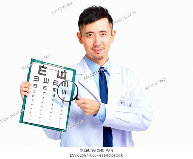 Optician doctor with eye chart and magnificent glasses