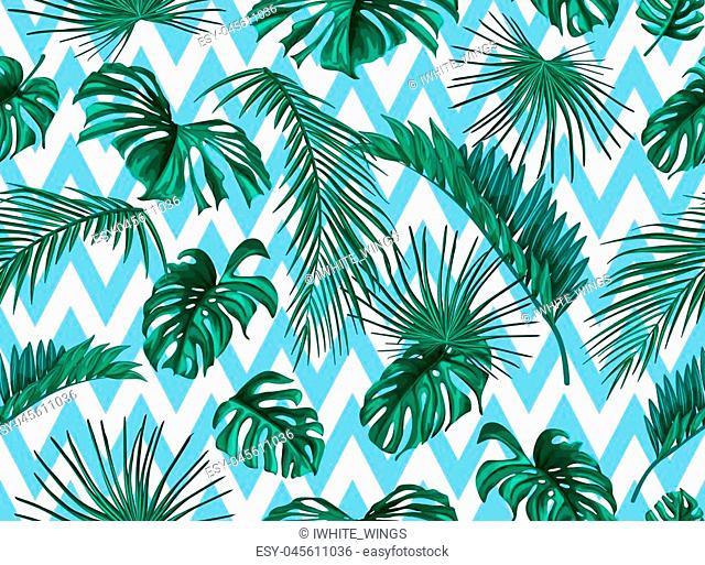 Vector tropical leaves summer seamless pattern abstract geometric background template. Jungle forest palm monstera floral exotic plant aloha hawaii Vintage...