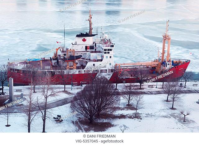 Windsor, Ontario, Canada. February 2014 --- The Canadian Coast Guard icebreaker ship 'Griffon' moored along the Detroit River by the city of Windsor, Ontario