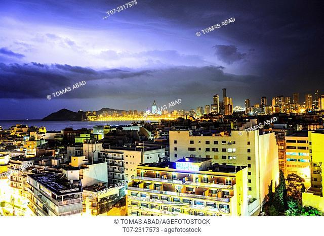 Midtown of Benidorm during thunder storm, Province of Alicante, Costa Blanca, Western Mediterranean Sea, Southern Spain