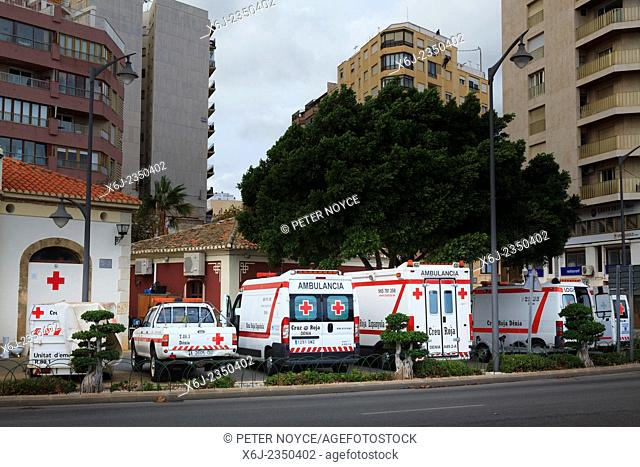 Red Cross Ambulances waiting outside the ambulance station at Denia Spain