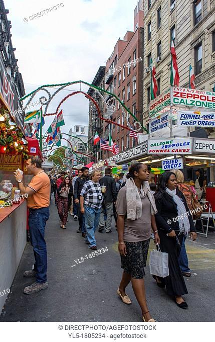New York, NY, USA, Little Italy Neighborhood, San Gennaro Food Festival, Street Scenes, Italian Food Stalls on Mulberry St, Manhattan