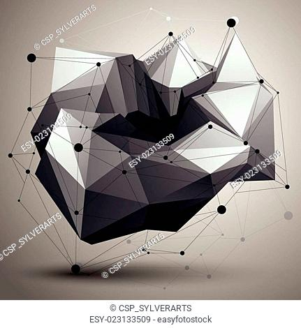 Complicated abstract grayscale 3D shape, vector digital lattice object. Technology theme